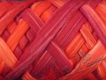 "Aust. Merino sheep wool ""Red Heat"" Floating Color - 100g silk blend"